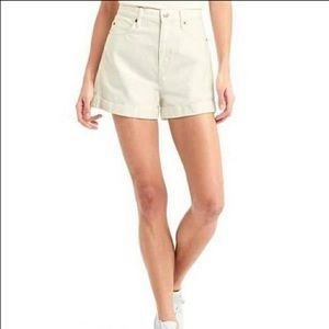 Gap Super High Rise White Denim Shorts